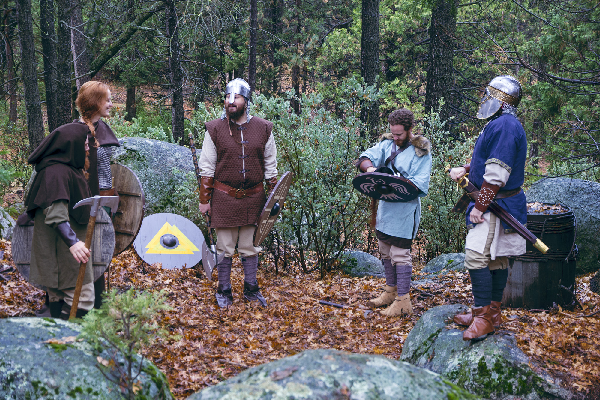 Jeremiah Benjamin, Adele René, Jes Selane, Vince Major and Chris Stathis on the set of Total Awesome Viking Power