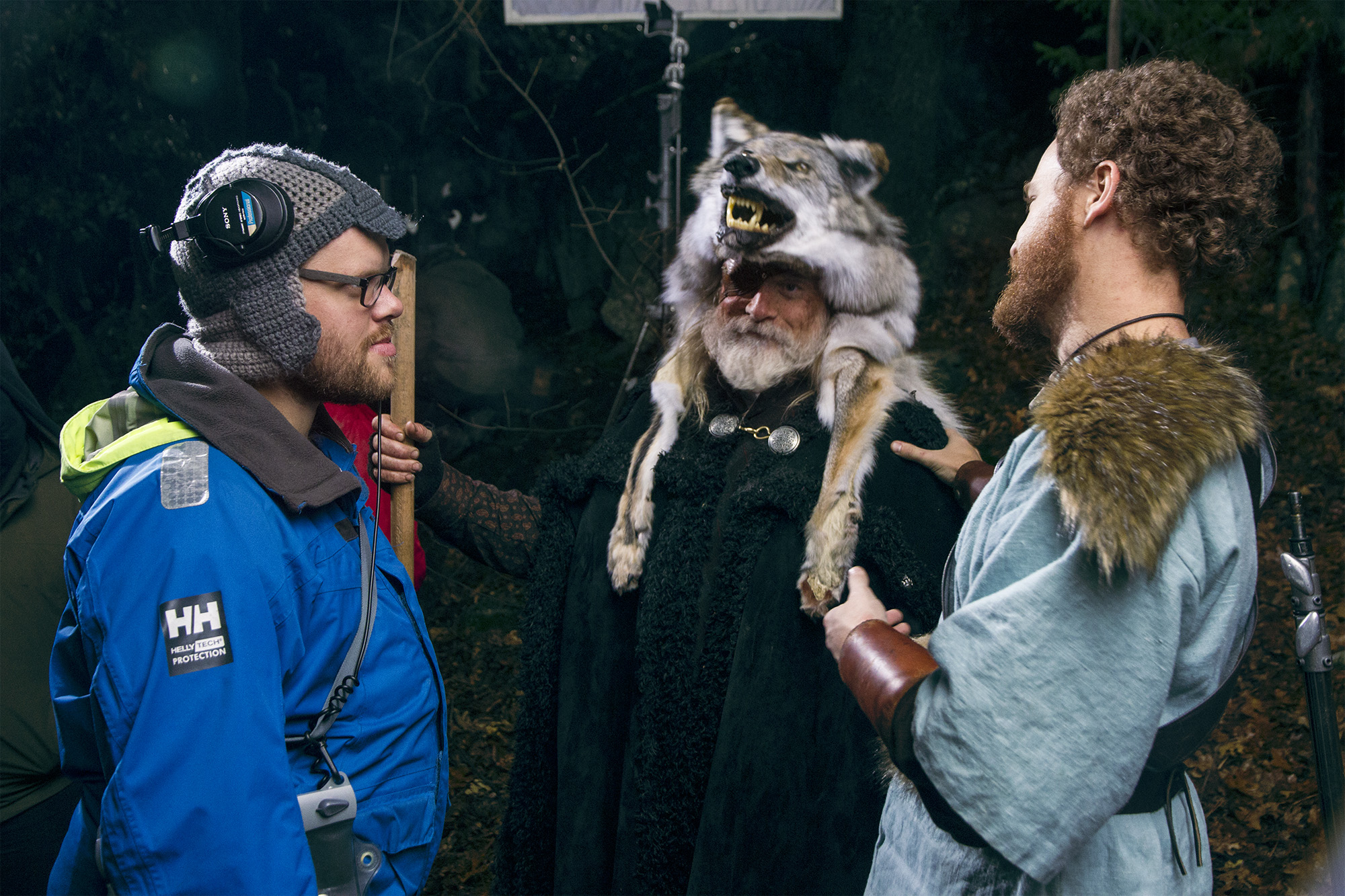Morten Forland, Schno Mozingo and Vince Major laughing on the set of Total Awesome Viking Power